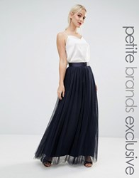True Decadence Petite All Over Tulle Full Maxi Skirt Navy