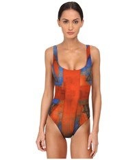Vivienne Westwood Propaganda Swuimsuit Red Blue Women's Swimsuits One Piece