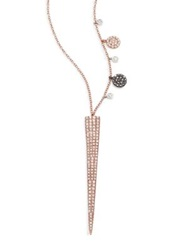 Meira T Diamond And 14K Yellow Gold Moon Pendant Necklace Rose Gold