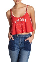 Wildfox Couture Amore Heart Cropped Tank Red
