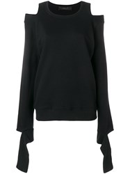 Federica Tosi Cold Shoulder Ripped Sweatshirt Black