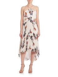 Elle Sasson Camille Pleated Silk Dress Ivory Paradise Flower Print