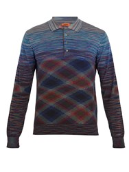 Missoni Striped Long Sleeved Wool Blend Polo Shirt Multi