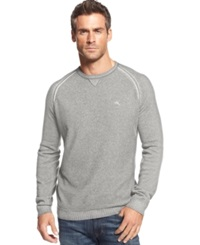 Tommy Bahama Big And Tall Barbados Crew Neck Sweater Light Grey Heather