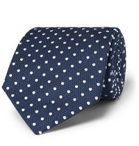 Dunhill 8Cm Polka Dot Mulberry Silk And Cotton Blend Jacquard Tie Navy