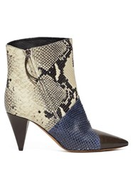 Isabel Marant Archenn Snake Effect Leather Ankle Boots Multi