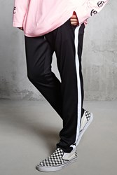 Forever 21 Contrast Stripe Knit Joggers Black White