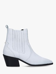 Carvela Stella Leather Western Style Ankle Boots White