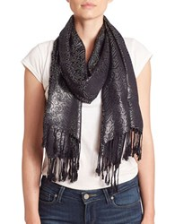 Collection 18 Metallic Swirl Scarf Black