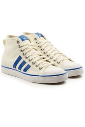 Adidas Originals High Top Canvas Sneakers With Leather White