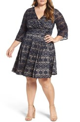 Eliza J Plus Size Women's Bell Sleeve Lace Fit And Flare Dress Navy