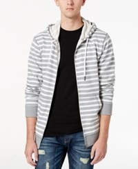 American Rag Men's Striped Zip Front Hoodie Created For Macy's Bright White