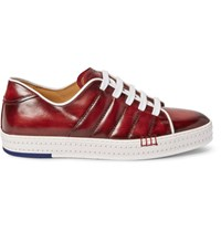 Berluti Playfield Burnished Venezia Leather Sneakers Burgundy