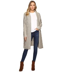 Christin Michaels Zienna Collared Cable Knit Long Cardigan Beige Women's Clothing