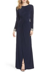 Vince Camuto Women's Beaded Cuff Ruched Jersey Gown
