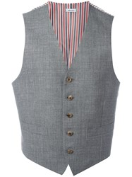 Thom Browne Striped Lateral Waistcoat Grey