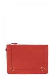 Jerome Dreyfuss Womens Clutches Jerome Dreyfuss Popoche Tomato Red Leather Clutch