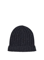 Brunello Cucinelli Ribbed Knit Wool Blend Beanie Hat Navy