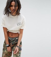 Milk It Vintage Shirred Crop Top With Embroidery Cream