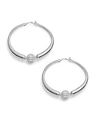 Noir Crystal Studded Ball Hoop Earrings 1.5In Silver