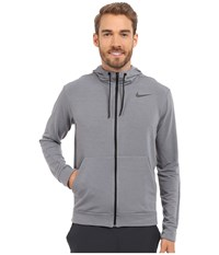 Nike Dri Fit Fleece Full Zip Training Hoodie Cool Grey Black Men's Sweatshirt Gray