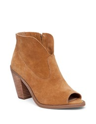 Jessica Simpson Chalotte Suede Peep Toe Booties Honey Brown