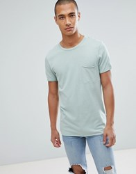 Tom Tailor T Shirt In Green Cut And Sew With Chest Pocket