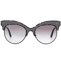 Bottega Veneta Leather Trimmed Sunglasses Grey