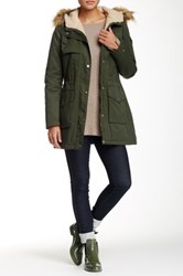 Tommy Hilfiger Anorak Jacket With Faux Fur Trim Green