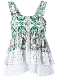 Tory Burch Floral Print Pleated Top White