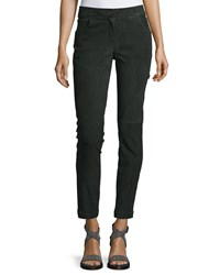 Brunello Cucinelli Mid Rise Suede Ankle Pants Forest Green