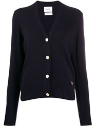Barrie V Neck Cashmere Cardigan Blue