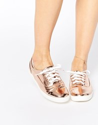 Lost Ink Sure Rose Gold Toe Cap Lace Up Plimsoll Trainers Gold