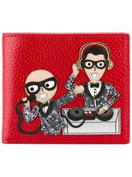 Dolce And Gabbana Cartoon Applique Cardholder Red