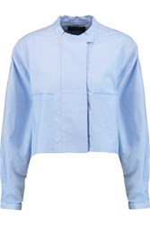 Ellery Cliff Cropped Embroidered Cotton Poplin Shirt Sky Blue