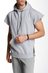 Hip And Bone Army Tech Hooded Short Sleeve Sweater Gray
