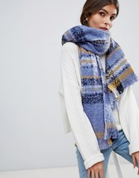 Oasis Oversized Checked Scarf In Blue Mid Blue