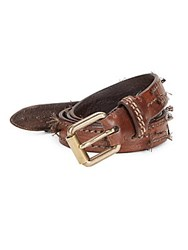 John Varvatos Roller Harness Leather Belt Chocolate