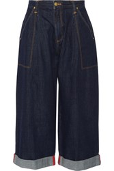 House Of Holland Lee Cropped Mid Rise Wide Leg Jeans Dark Denim