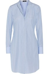 Theory Jodalee Striped Cotton Poplin Shirt Dress Blue
