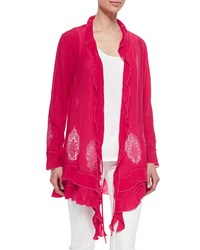 Johnny Was Ruffle Cover Up Cardigan Pinkberry