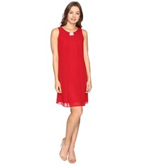 Christin Michaels Garland Sleeveless Dress Red Women's Dress
