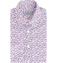 Canali Floral Print Modern Fit Cotton Shirt Red
