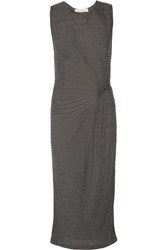 Thakoon Gathered Ribbed Jersey Midi Dress