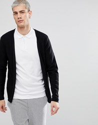Selected Homme Open Drape Cardigan In 100 Cotton Black