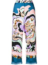 Emilio Pucci Abstract Print Cropped Trousers Blue