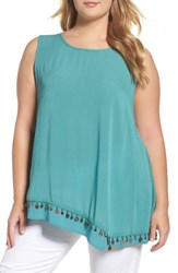 Wit And Wisdom Plus Size Women's Coin Detail Asymmetrical Double Layer Tank Bright Teal