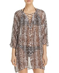 Tommy Bahama Snakeskin Print Lace Front Tunic Swim Cover Up Brown