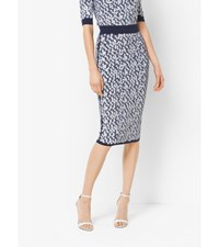 Floral Embroidered Stretch Viscose Pencil Skirt Maritime
