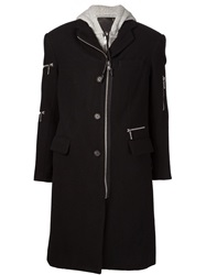 R 13 R13 Layered Hooded Coat Black